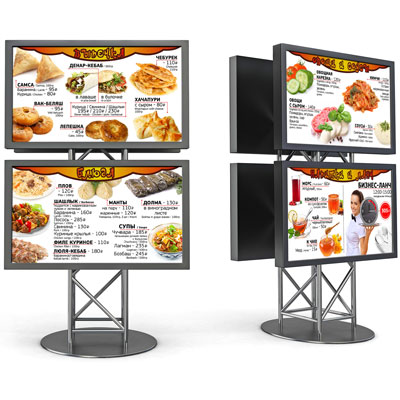 Menu boards on monitors for fast food restaurants on the food court